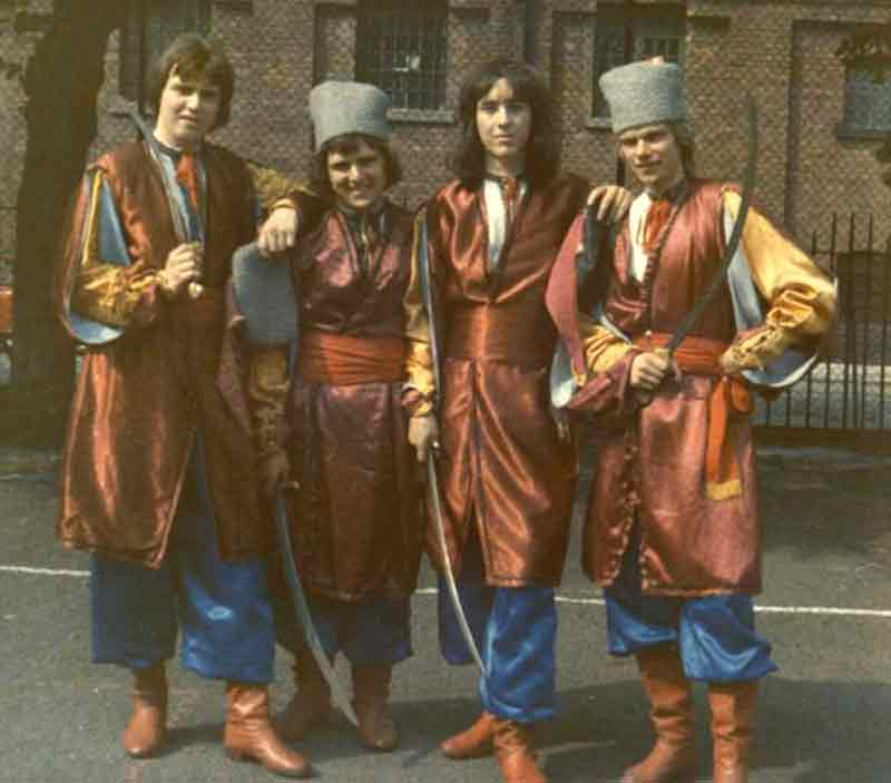Mick Antoniw second from right in Ukrainian national costume 1974 © Mick Antoniw AM