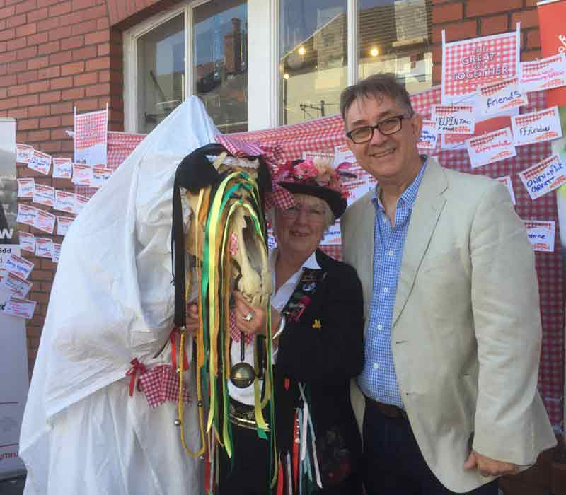 Mick Antoniw and the Mari Lwyd at the Great Get Together event 2017 © Mick Antoniw AM