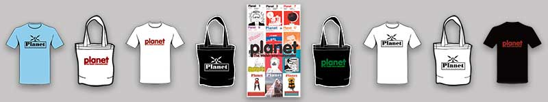 A range of Planet Supporter merchandise
