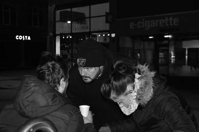 Chris and Kelly Newth, serving tea and helping to secure someone accommodation for the night. © Seb Cooke