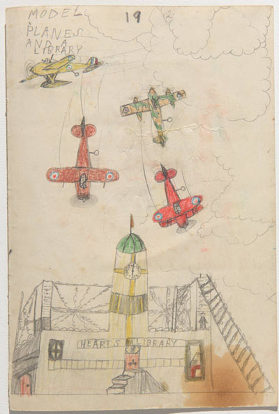 Model Planes and a Library, Ivor Davies, childhood drawing from wartime Penarth.